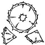 Fond de vecteur de style de griffonnage de tranche d'ananas Paix d'ananas d'isolement sur le blanc Photos libres de droits