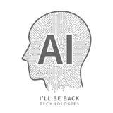 Fond de vecteur de technologie de la Science Concept d'ingénierie d'intelligence artificielle avec la tête de cyborg illustration libre de droits