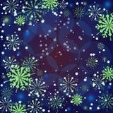 Fond de vecteur des flocons de neige blancs et verts Photo libre de droits