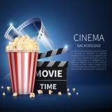 Fond de vecteur de film du cinéma 3d avec le maïs éclaté et le film de vintage Rétro affiche de cinéma Image libre de droits