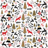 Fond de vecteur Illustration de Joyeux Noël Carte de vacances ` S Ève 2017 de nouvelle année Cerfs communs Image stock