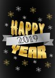 Fond de vecteur de la bonne année 2019 avec des lettres d'or Vecteur illustration stock