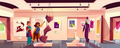 Fond de vecteur de Musée d'Art avec des visiteurs illustration de vecteur