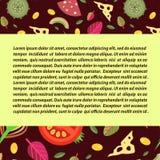 Fond de vecteur Pizza d'écrimages Grève rectangulaire pour le texte Photos stock