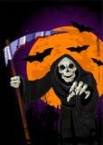 Fond de Veille de la toussaint Reaper sinistre illustration de vecteur