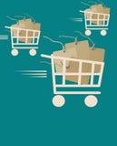 Fond de vente avec des étiquettes dans le caddie Image stock