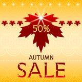 Fond de vente d'automne avec la feuille d'érable. Photos stock