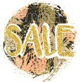 Fond de vente d'or avec des ananas dans le cadre Fond de vente d'or pour l'insecte, affiche Photos libres de droits