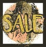 Fond de vente d'or avec des ananas dans le cadre Fond de vente d'or pour l'insecte, affiche, achats, pour le signe de vente, remi Photos stock