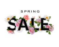 Fond de vente de ressort, bannière avec des fleurs, roses et camomilles Photos libres de droits