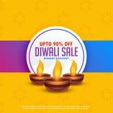 Fond de vente de festival de Diwali avec trois lampes de diya Photographie stock