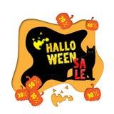 Fond de vente de Halloween avec le chat noir et les potirons illustration de vecteur