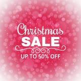 Fond de vente de Noël Affiche de la publicité pour le magasin Remises jusqu'à 50 pour cent Bannière de vente d'hiver Vecteur Photos libres de droits