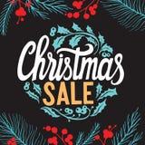 Fond de vente de Noël avec des décorations de vacances sur un chalkboa illustration de vecteur