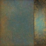 Fond de vert bleu avec le vieux ruban marbré de conception et de sidepanel de texture d'or images libres de droits