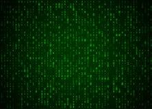 Fond de vert de code binaire de vecteur Grandes données et entailler de programmation, décryptage profond et chiffrage, ordinateu Photographie stock