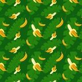 Fond de vert de modèle de bananes Images stock