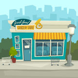 Fond de ville avec le bâtiment de boutique, illustration de bande dessinée de vecteur Photos stock