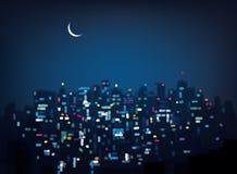 Fond de ville de nuit de bokeh de vecteur Images libres de droits