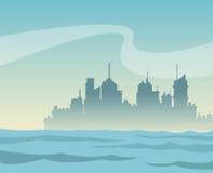 Fond de ville et de rivière de panorama de silhouette Photo libre de droits