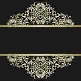 Fond de vintage, antiquité, ornement d'or de victorian, cadre baroque, beau vieux papier, carte, page de couverture fleurie, labe illustration stock