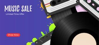 Fond de vintage avec des disques vinyle et des bandes audio Rétro calibre de vente de fond de musique illustration de vecteur