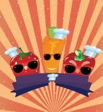Fond de vintage avec des légumes en verres Image stock