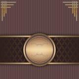 Fond de vintage avec le cadre d'or et les éléments décoratifs Image stock