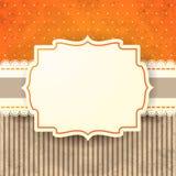 Fond de vintage avec le label, dans l'orange Image stock