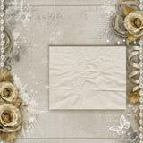 Fond de vintage avec les roses beiges illustration stock