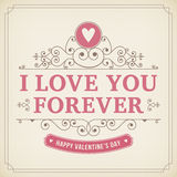 Fond de vintage de carte de voeux d'ornement de Valentine illustration libre de droits
