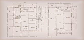 Fond de vintage de dessin de croquis topographique de structure de construction de logements Photographie stock libre de droits