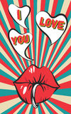 Fond de vintage de jour de valentines avec les lèvres piercing sexy, le bubble-gum, les rétros rayons et je t'aime l'inscription Images stock