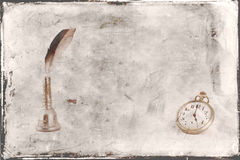Fond de vintage de montre de paquet de plume d'oiseau Images libres de droits