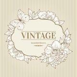 Fond de vintage de vecteur avec la pivoine et le papillon Photographie stock libre de droits