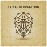 Fond de vintage de visage du système de reconnaissance faciale 3D Photo stock