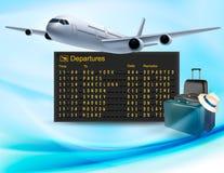 Fond de voyage avec le conseil mécanique de départs Photographie stock