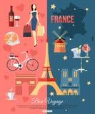 Fond de voyage de Frances avec l'endroit pour le texte positionnement Image stock