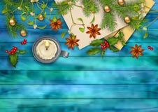 Fond de vue supérieure de vecteur de Noël Photos stock