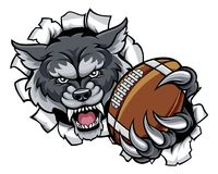Fond de Wolf American Football Mascot Breaking illustration stock