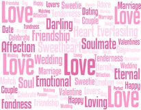 Fond de wordcloud d'amour Image libre de droits