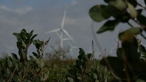 Fond Defocused de turbines de vent de ciel nuageux clips vidéos