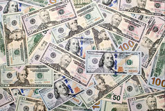 Fond des billets de banque américains du dollar photographie stock