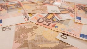 Fond des billets de banque Euro billets de banque 50 cinquante Images stock