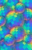 Fond des boules de cristal 3d d'arc-en-ciel Sphères en verre iridescentes rouges vertes jaunes bleues Bannière verticale créative illustration de vecteur