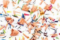 Fond des copeaux multicolores de crayon Photographie stock libre de droits