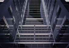 Fond des façades de gratte-ciel en verre foncé illustration de vecteur