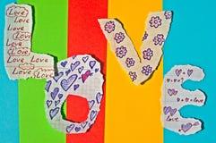 Fond des lettres fabriquées à la main empilées dans un amour de mot Images libres de droits