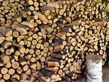 Fond des logarithmes naturels coupés secs de bois de chauffage Photos stock