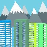 Fond des montagnes et de l'illustration de vecteur de gratte-ciel illustration libre de droits